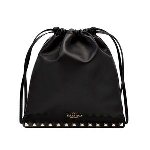 New Valentino Rockstud Pouch Black Leather Clutch